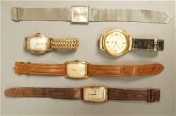 5pcs Vintage Wristwatches. Elgin, Bulova Accutro