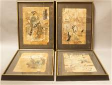 4pc Lot Japanese Signed Wood Block Prints Includ