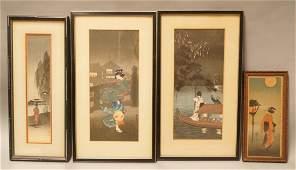 4pc Japanese Wood Block Geisha Prints. Signed and