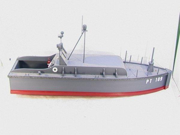 2006: US PT109 Large Wood Boat Model  JFK.  Large woode