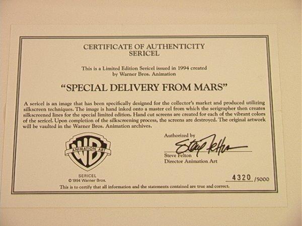 2011: Warner Bro BUGS BUNNY Sericel 1994 Marvin Martian - 6