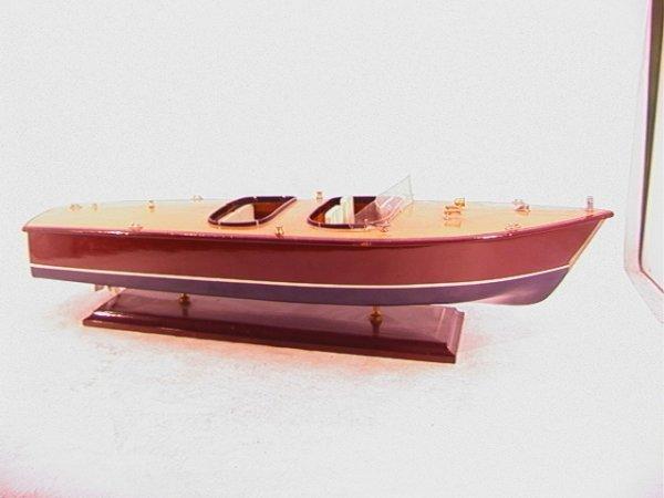 2012: Wood Speed Boat Model Wooden. Large Handmade Mode