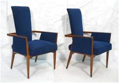 Pr Tall Back Blue Fabric Modernist Lounge Chairs.
