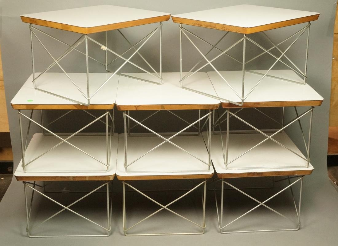 8 CHARLES EAMES Wire Frame Tables LTR Model. Whit