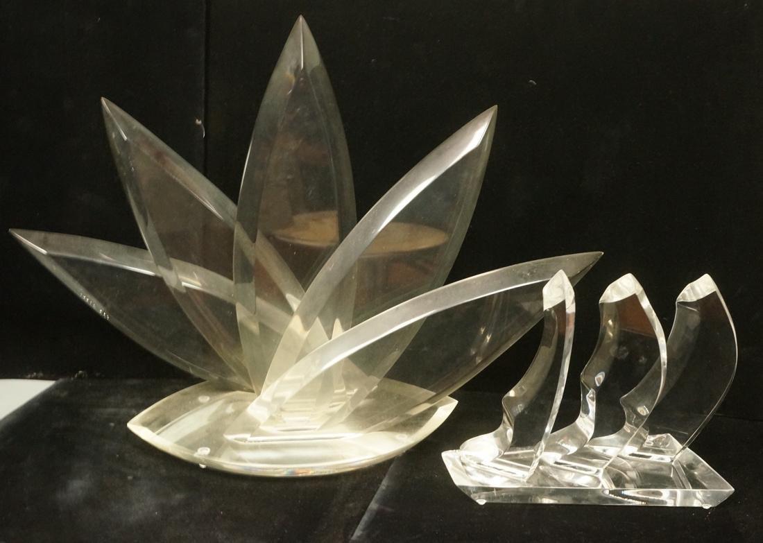 2pc VAN TEAL Modernist Lucite Table Sculptures. 1