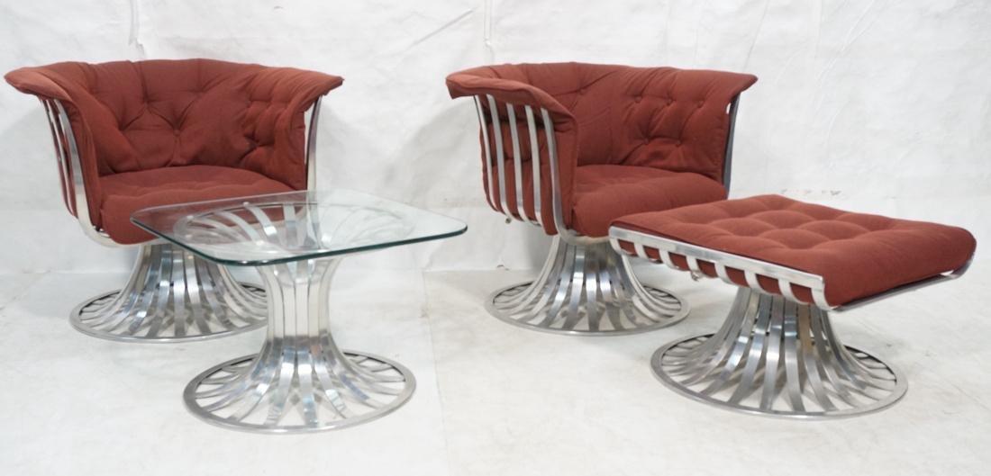 4 RICHARD SCHULTZ Aluminum Lounge Chairs Ottoman.