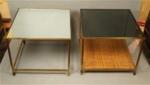 2 Brass Square Tube Frame Side Tables