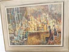 SI LEWEN Modernist Oil Painting Harbor Scene wit