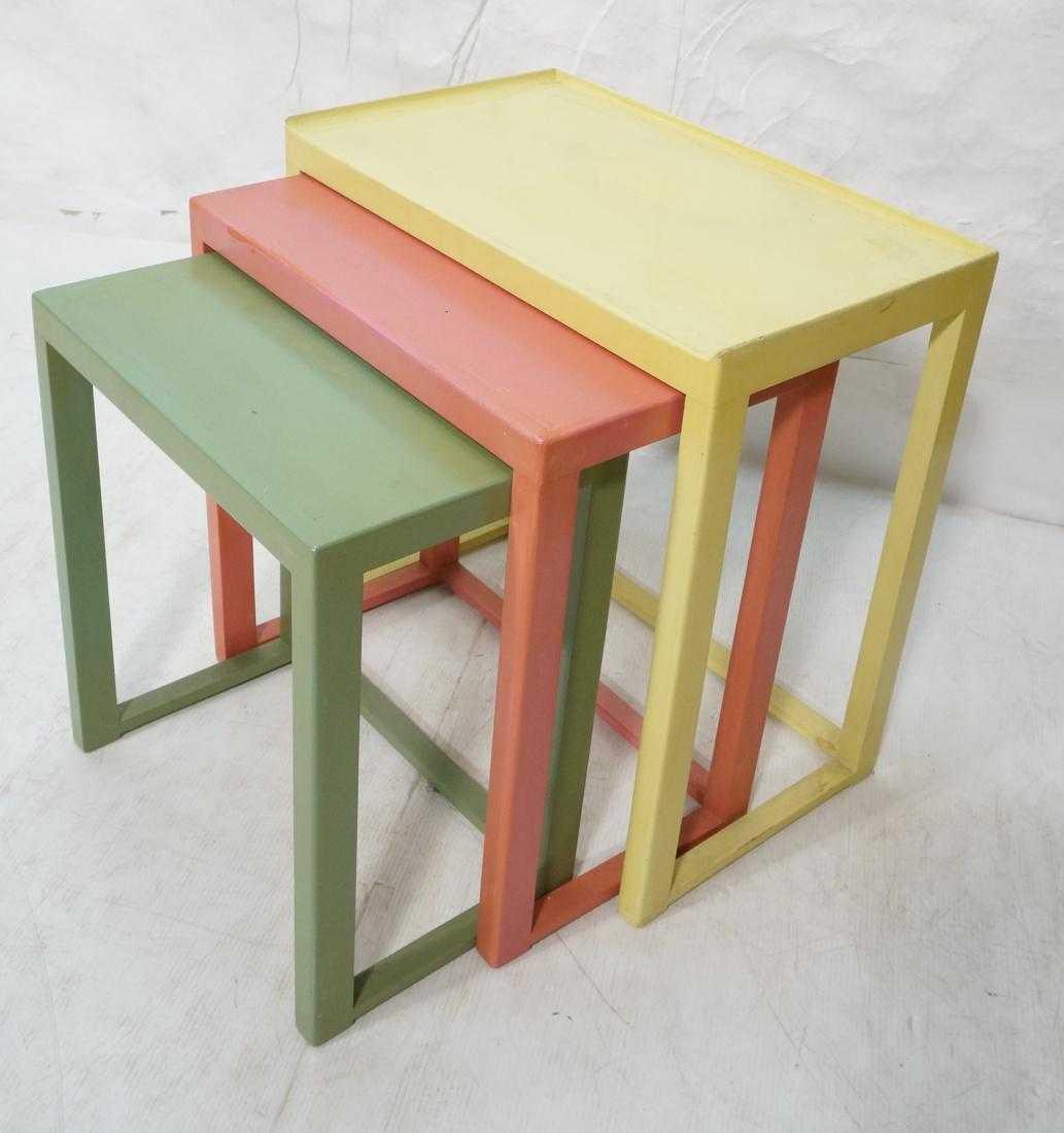 Dunbar nesting tables yellow pink green paint watchthetrailerfo