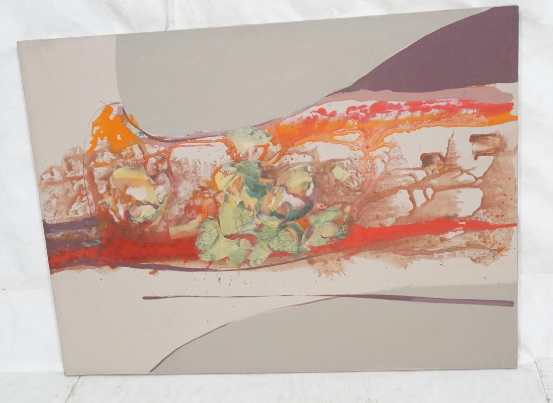 GLADYS WINN Lg Abstract Oil Painting Collage. Gra