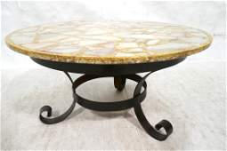 Inlaid Onyx Round Cocktail Coffee Table. Corseted