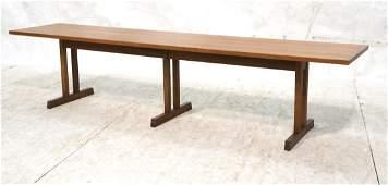 Craftsman style Long Bench Seat . Long Coffee Tab