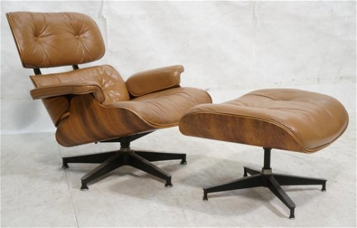 Rosewood Brown Leather Charles Eames Lounge Chair
