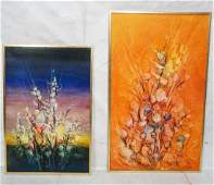 2 Modernist Abstract Artist Signed Oil Paintings.