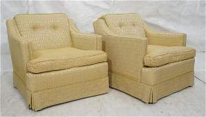 Pr 50s Modernist Sloped Arm Lounge Chairs Gold