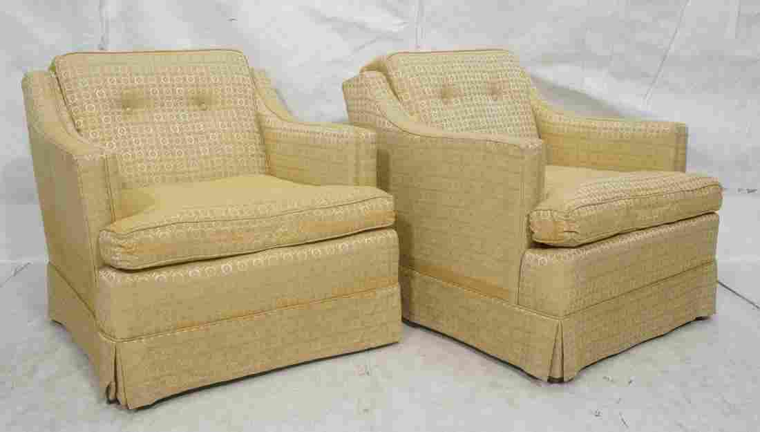 Pr 50's Modernist Sloped Arm Lounge Chairs. Gold