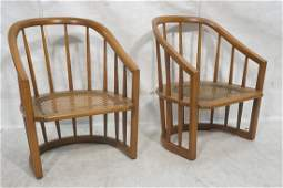 Pr Modernist  Spindle Barrel Back Lounge Chairs