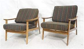 Pr Modernist Spindle Back Lounge Chairs Bowed pa