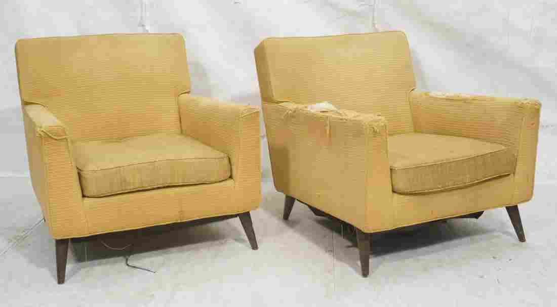 Pr Gold Fabric Modernist Lounge Chairs. Paul McCo