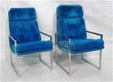 Pr Electric Blue Plush Chrome Frame Lounge Chairs