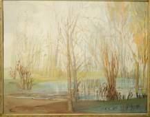FARRIS BURDINE WOOLSTON Oil painting landscape wi