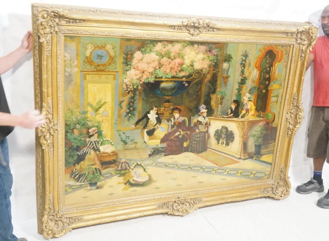 Oversized W. BURGESS Oil Painting. Large scene of