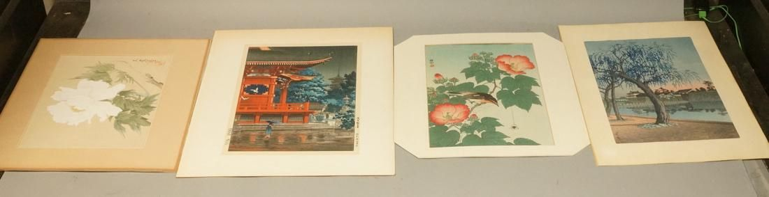 4pc Signed Japanese Wood Block Prints. 1) Weeping