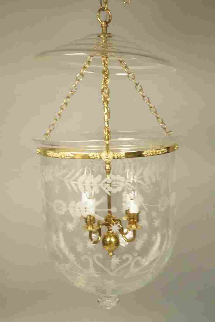 Etched Glass Closed Form Brass Fixture Chandelier