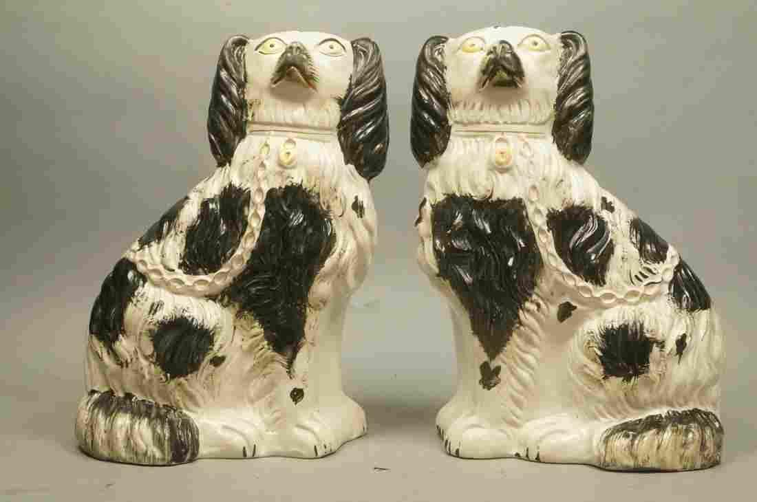 Pr STAFFORDSHIRE  Spaniel Dogs. Hollow cast potte