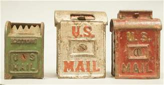 3 US Mail Cast Iron Vintage Savings Banks. All ma