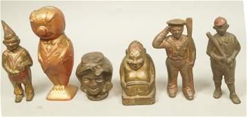 6 Figural Cast Iron Vintage Banks. Navy officer w