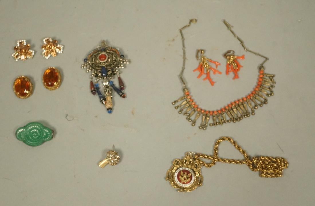 8pc Vintage Costume Jewelry Lot. Rhinestones, cor
