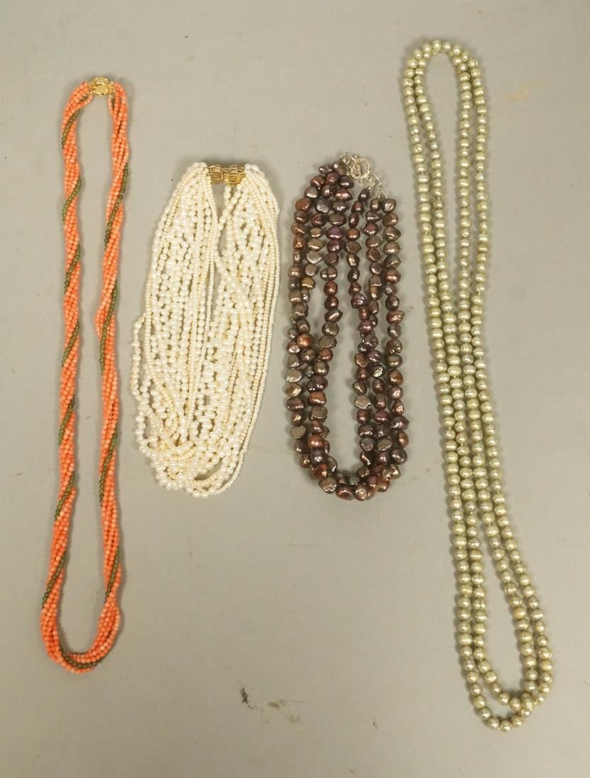 4pc Vintage Pearl Beads, Coral Necklaces. Multi s