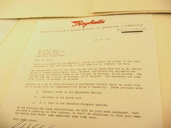 2061: 1963 Indianapolis 500 Photographs. A.J. Foyt, Jim - 6