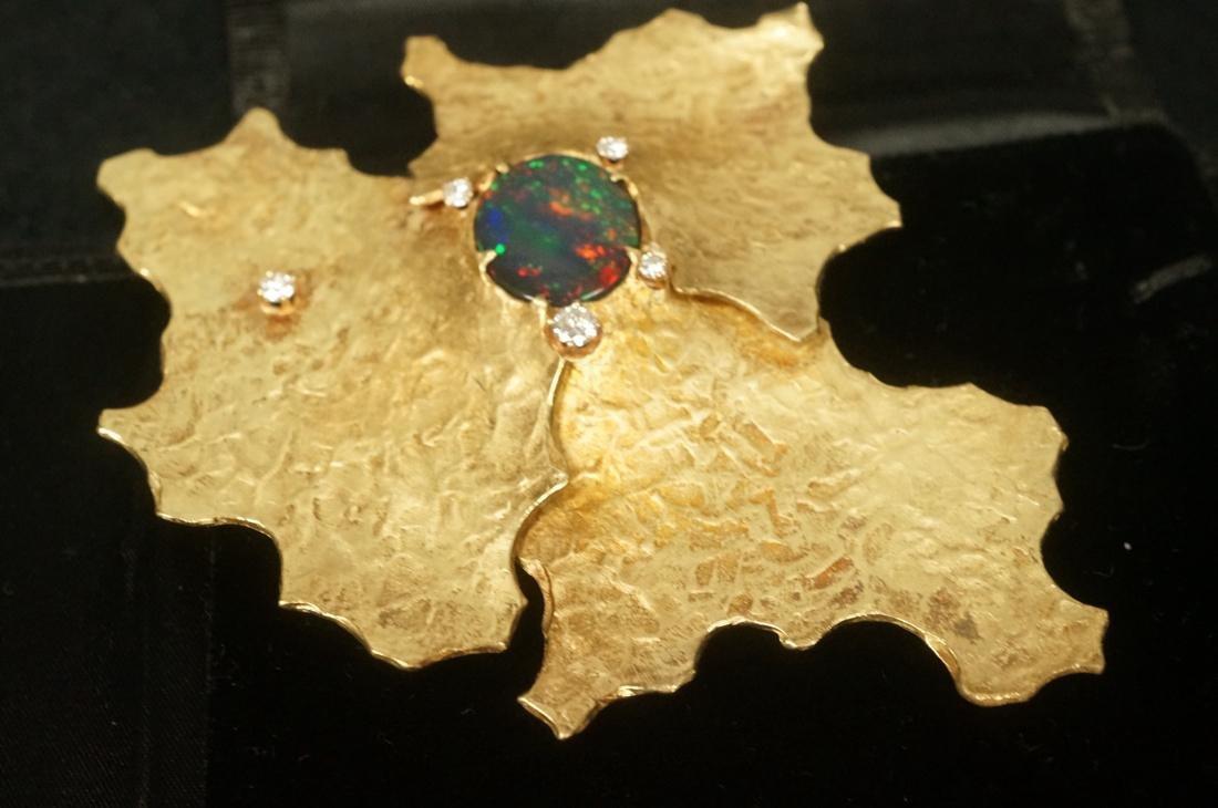 ED WIENER 18K Gold Hand Wrought Diamond Brooch Pe