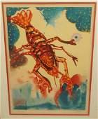 SALVADOR DALI Pencil Signed Lobster Print Colorf