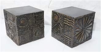 Pr ADRIAN PEARSALL Sculptured Modern Cube Tables.