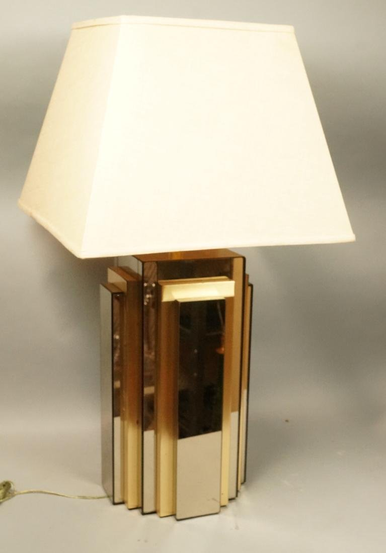 70s Modern Mirror and Gold Tone Table Lamp. Stepp