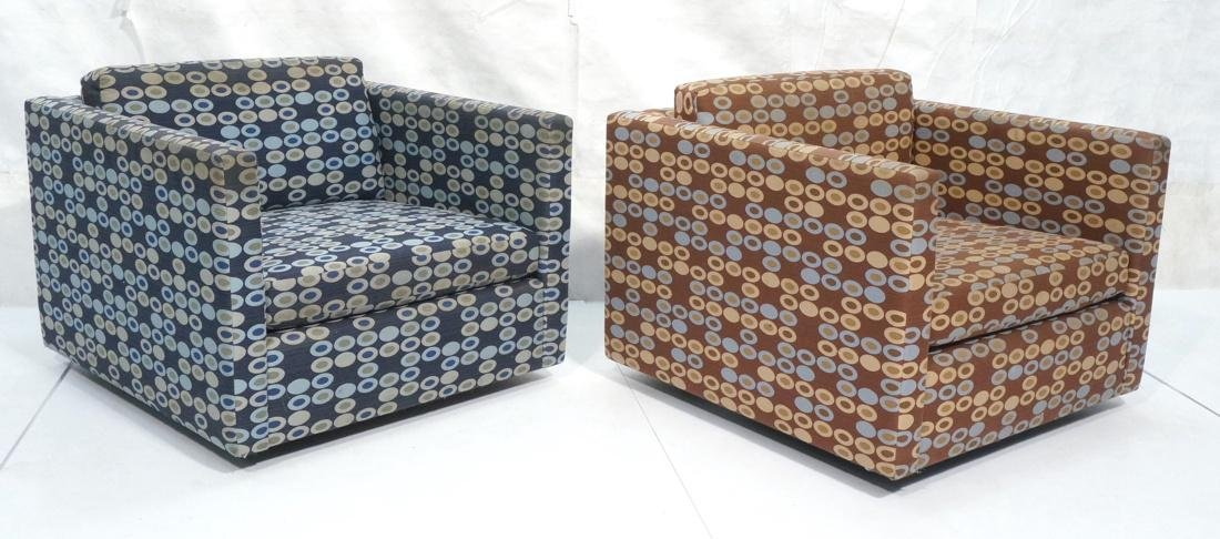 Pr KNOLL Upholstered Lounge Chairs. Cube form wit