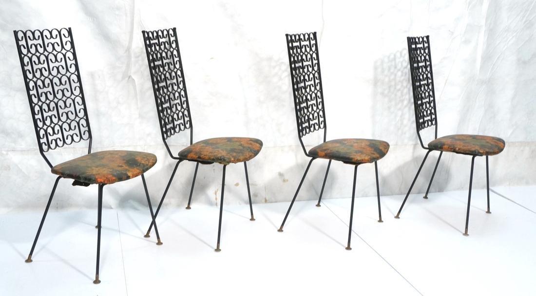 Set 4 ARTHUR UMANOFF Tall Back Metal Dining Chair