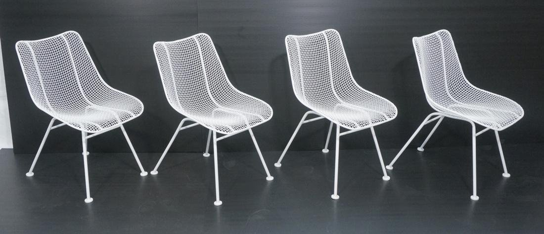 Set 4 RUSSELL WOODARD White Mesh Metal Chairs