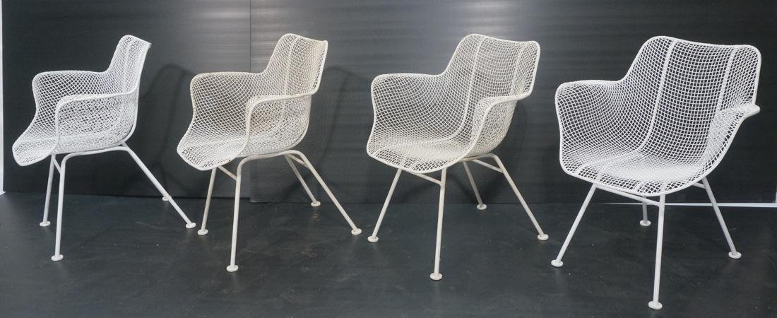 Set 4 RUSSELL WOODARD White Metal Mesh Arm Chairs