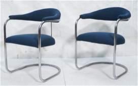 Pr Chrome Tube Frame Modern Lounge Chairs T form