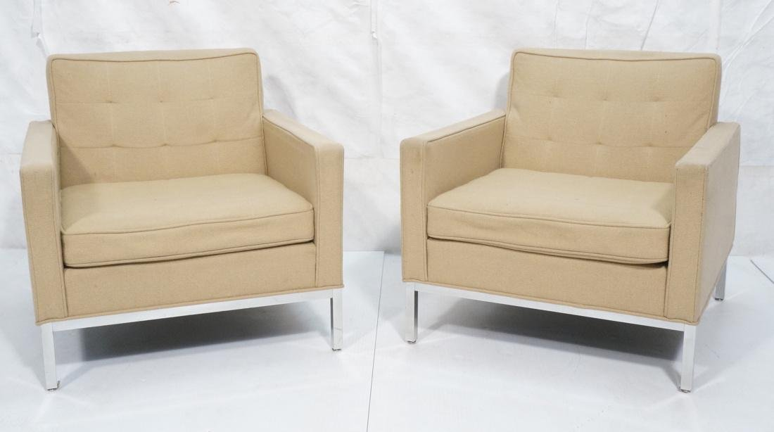 Pr KNOLL Style Tan Upholstered Lounge Chairs. Squ