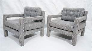 Pr Upholstered Parsons Style Lounge Chairs. Moder