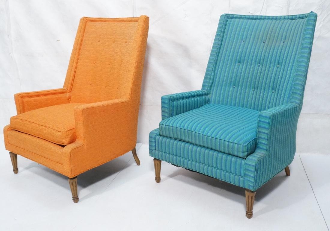 Pr Tall Back Mid Century Lounge Chairs. Tall angl