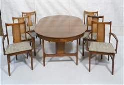 7 pc Modern Walnut Dining Set Table 6 chairs Rou