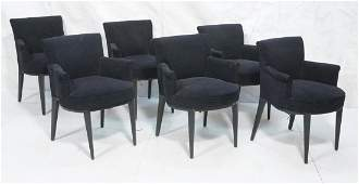 Set 6 Modern Black Arm Side Chairs. Ebonized tape