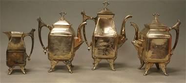 4 pc Silver Plate Vintage Coffee Tea Service. Ree