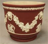WEDGWOOD Crimson Jasperware Low Bowl Cachepot R